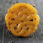 China Handmade carved old jade Nobility wear amulets Dragon Phoenix pendant 0206