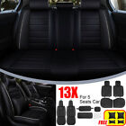 13x Car 5 Seats Cover Full Wear Resistant Leather Frontrear Cushion All Season