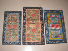 3 Antique Vintage Asian Chinese Embroidered Silk Panels Lotus Jars Butterflies