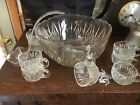 Square Punch Bowl Set With 8 Cups Hazel Atlas Williamsport Pressed Glass