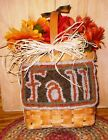 Wool Rug Hand Hooked Primitive Fall Flower Basket Finished W Bouquet Rust