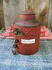 Early Antique Pantry Tin Original Red Paint and Stencils Mistletoe