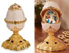 Nativity of Christ Icon Enameled Deluxe Egg With Surprise Christmas Gift 5 1 2
