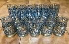 Set - 22 Clear Glass Tumblers Textured Blue Floral Vintage Drinking Glasses RARE