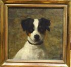 Fine 19th Century Jack Russell Terrier Dog Portrait Antique Oil Painting Signed
