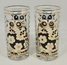 2 Cera Mid Century 10 Ounce Gold Trim Owl Highball Glasses Tumblers EUC