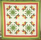 AMAZING Pre Civil War Lily 4-Block Applique Antique Quilt ~Best. Ever. Quilting!