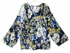 Size 4 XXL Chicos Peasant Shirt Top Blouse Blue Yellow White Green Floral