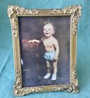 Vintage Ornate Brass Picture Photo Frame Decorative Fancy Floral Edge