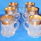 Indiana Glass Diamond Point Gilded Band Mugs with Handles Set of  6 Hard to Find