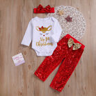 USA Newborn Baby GirlMy 1st ChristmasRomper Sequin Pants Headband Outfits Set