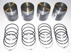 4 COATED Pistons & Rings 1941-1971 Willys & Jeep 134-L & 134-F 4 cylinder NEW