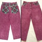 Vtg 80s 90s Baggy Jeans High Waist Acid Washed Red Denim Plaid Pockets 34 x 30