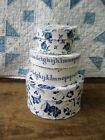 Stack of 3 Blue and White Calico Pantry Boxes