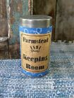 Antique Pantry Tin Blue Calico Sleeve Farmstead Keeping Room