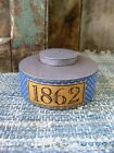Unusual Early Antique Pantry Tin Blue Calico Sleeve 1862