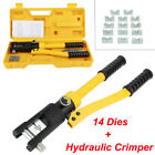10 Ton Hydraulic Wire Crimper Tool w 14 Dies Battery Cable Lug Terminal Crimping