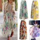 US Casual Chiffon BOHO Ladies Floral Jersey Gypsy Long Maxi Full Skirt Sun Dress