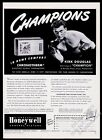 1949 Kirk Douglas photo as boxing boxer Honeywell thermostat vintage print ad