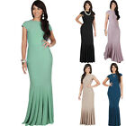 KOH KOH Long Cap Sleeve Elegant Formal Evening Fishtail Cocktail Maxi Dress Gown