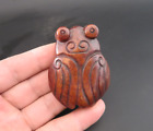 Old Chinese HongShan culture jade hand-carved cicada amulet pendant Y4322