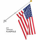 American Gold Ball Aluminu Flag Pole Kit Wall Mount 5 Ft Spinning 3x5 US Flag