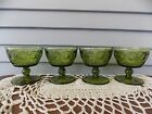Set of 4 Vintage Dark Green Glass Footed Ice Cream Sundae Dessert Dishes