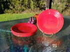 4 Luncheon PLATES set lot scarlet red HOMER LAUGHLIN FIESTA WARE 9