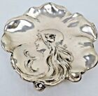 Antique Art Nouveau Silverplate Pin Dish Dresser Tray Lady With Flowing Hair