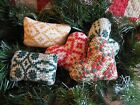 Handmade Scrappy Mini Bowl Fillers Vintage Woven Coverlet Christmas Ornaments