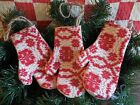 Primitive Christmas Mitten Ornaments Vintage Red Woven Coverlet Bowl Fillers