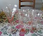SIX VINTAGE RIBBED OPTIC PINK THIN GLASSES 4 TUMBLERS 2 STEMMED - FREE SHIPPING