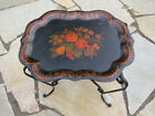 Early 1900s antique hand-painted floral toleware metal tray, with separate stand