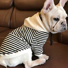 Pet Dog Cat French Bulldog Clothing T Shirt Striped Puppy Hoodie Coat Clothes US