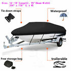 Black 16 18Ft Trailerable Fish Ski Boat Cover 600D Fabric with PVC Coating