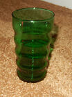 1 ANCHOR HOCKING FOREST GREEN E3597 RIBBED TUMBLER DRINKING GLASS