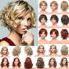 Sexy Women's Short Pixie Hair Bob Full Wigs Brown Wavy Curly Party Layer Wig @