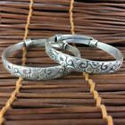 Collectible Old Antique Rare Handwork Tibet Silver Wealthy Fish Pair Bracelet