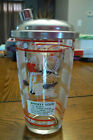 Vintage Hazel Atlas Cocktail Shaker Sailboat Golfer Recipes Red White NICE