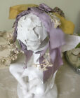 Antique Silk Lavender Ribbon Millinery Lily of Valley Flowers Headband Doll Hat