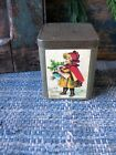 Antique Pantry Tin with Old Christmas Postcard Print