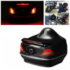 Motorcycle Bike Trunk Box W/Taillight Red Brake Turn Light+Backrest Base+2X Key