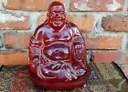 Quality Estate Old Vtg Antique Cherry Amber Smiling Happy Buddha Statue Figure