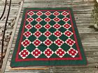 Antique Vintage Red Green and White Quilt Monkey Wrench Applique Applique'