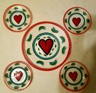 KOSTA BODA SWEDEN Art Glass Hand Painted Heart Plates Signed by Ulrica Hydman