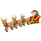 BCP 9ft Pre Lit Inflatable Christmas Santa Claus and Reindeer Multicolor