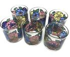Set 6 Pasinski Washington Double Old Fashioned Rocks Glasses Vintage Multi Color