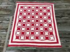 Antique Red and White Quilt Robbing Peter To Pay Paul Vintage
