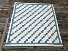 Vintage Bow Tie Blue and White Quilt 1930's antique Unwashed Condition indigo