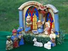 NICE 11pc VINTAGE CERAMIC CHRISTMAS NATIVITY SET w STAIN GLASS WINDOW CRECHE